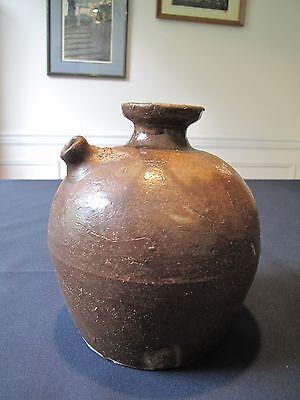 Old Chinese Brown Glazed Porcelain Short Nose Wine Jar