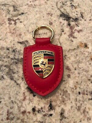 GENUINE OEM PORSCHE CREST Keyring Key Chain Key Fob Red Leather