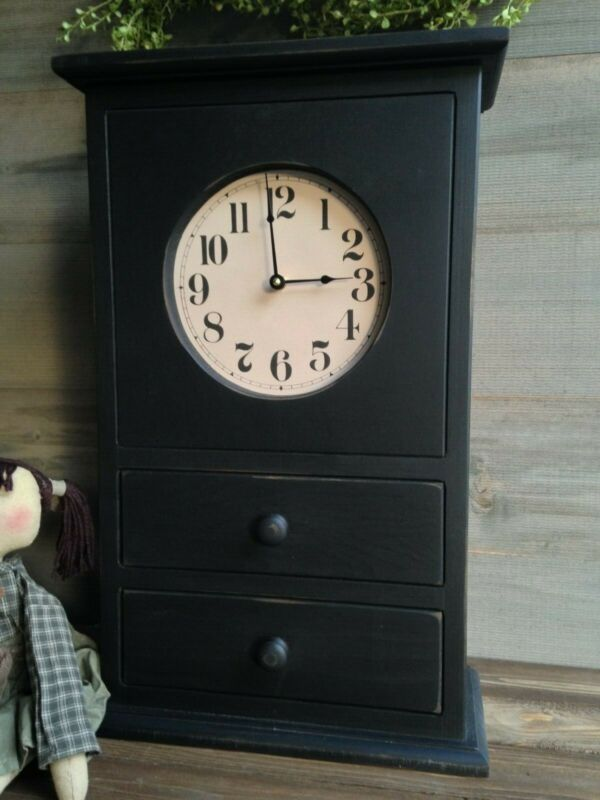 NEW Handcrafted Primitive Colonial Farmhouse Black HOMESTEAD CLOCK With Drawers