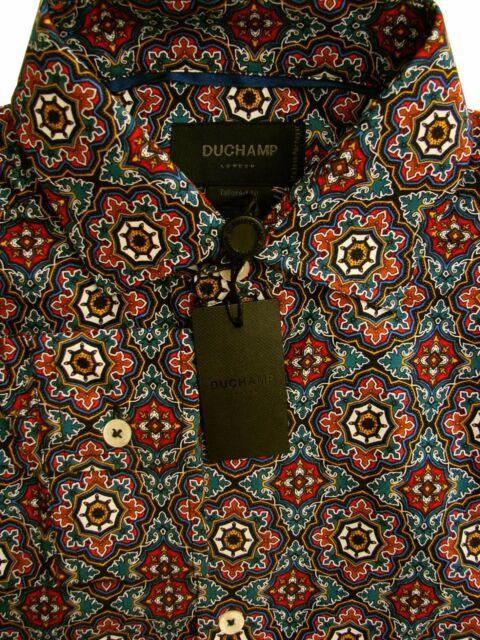 DUCHAMP LONDON Shirt Mens 14.5 S Multi Geometric Pattern TAILORED FIT NEW BNWT