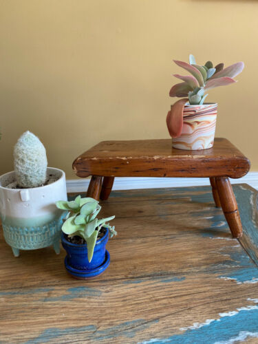 Small Vintage Primitive Solid Wood Stool