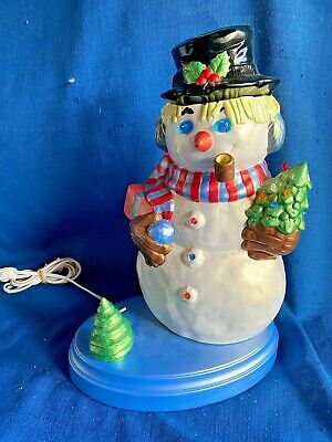 Vintage Ceramic Holland Mold Company Light Up Musical Frosty Snowman Christmas