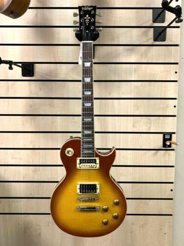 Vintage V100 Reissued Electric Guitar - Flamed Thru Honeyburst