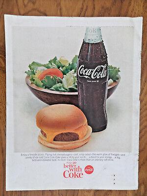 1966 Coke Coca-Cola Soda Bottle Pop Ad Cheeseburger Salad & Coke