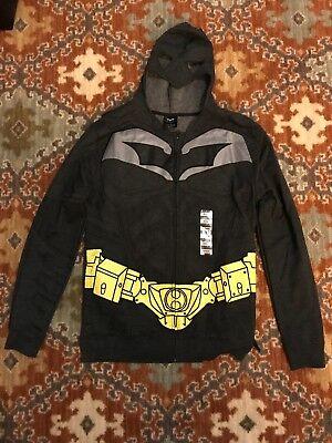 Dark Knight Rises Batman Halloween Costume w/Mask Fleece Zip Up Hoodie NWT SZ M