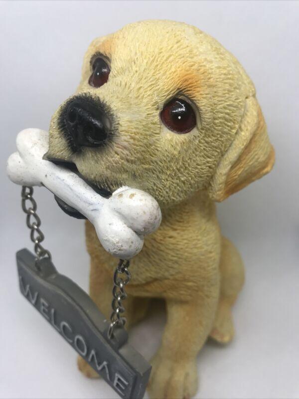 "Dog Labrador Resin Figurine Welcome 6"""