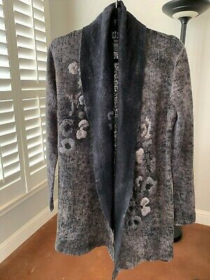 AVANT TOI $995 GRAY TIE DYE EMBROIDERED FLOWER CARDIGAN SWEATER SIZE S
