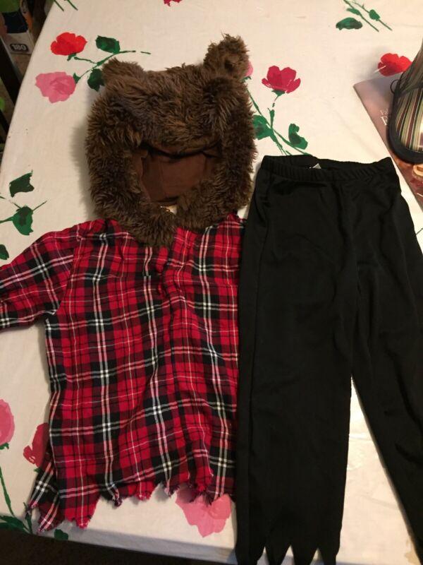Gymboree Werewolf Hooded Plaid Shirt Costume Dress up Size xs ( 3-4) plus pants