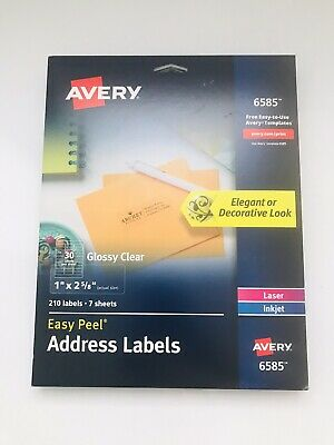 """Clear Avery Easy Peel (Avery Glossy Clear Easy Peel Address Labels 210 Labels 1"""" X 2-5/8"""")"""