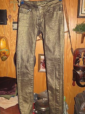 Crunch Cotton Spandex Metallic Gold Skinny Jeans Junior 3  ()