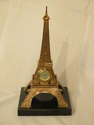 L46765: MAITLAND SMITH  #8143-13  Marble Base Brass Eiffel Tower Clock ~ New
