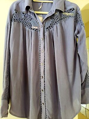 NWT Free People Katie Bird buttondown Crochet Lace Inset Blue Tunic Top Small