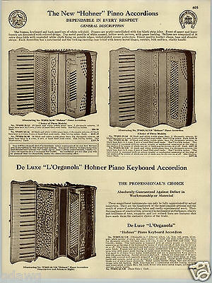 1930 PAPER AD Hohner L'Organola Piano Keyboard Accordion Seth Thomas Metronomes (Paper Piano Keyboard)