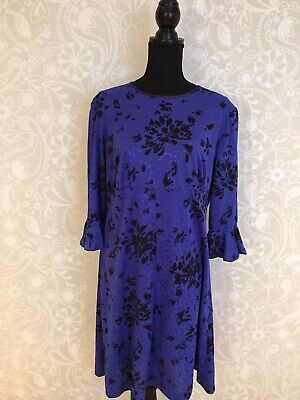 💙 70s 80s Blue And Black Floral Print Vintage Dress, Summer, Party, Gorgeous!  - 70s And 80s Clothes