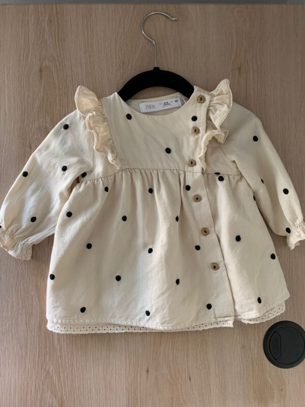 Zara Baby Girl Embroidered Polka Dot Dress 3-6 months