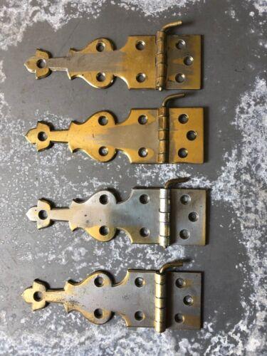 Lot of 4, 2 pairs Vintage Tulip brass icebox refrigerator hinges