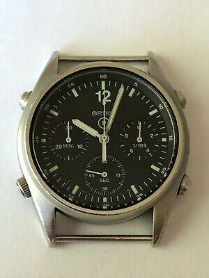 Vintage 1988 Seiko Mens Military RAF Pilots Chronograph Watch Gen 1 7a28 7120