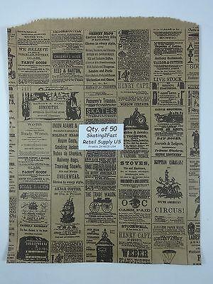 50 Qty. 12 X 15 Newsprint Design Paper Merchandise Bag Retail Shopping Bags