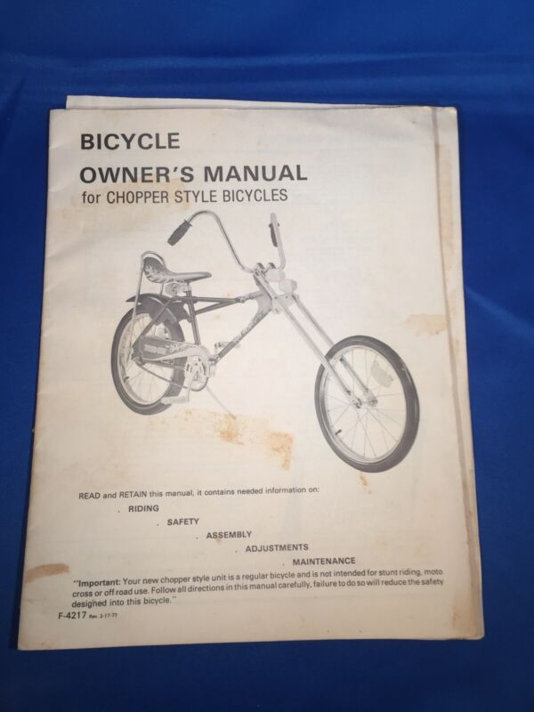 Vintage 1977 Bicycle Owners Manual For Chopper Style Bikes