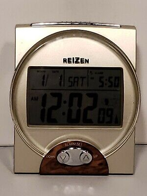 Reizen Time Date Announcement Talking Atomic Alarm Clock-Nice Working Condition
