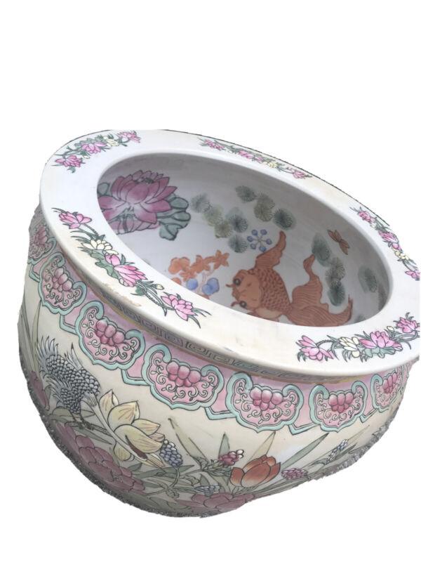 Vintage Asian Style Famille Jardiniere Planter Fish Bowl Koi Fish Chinoiserie
