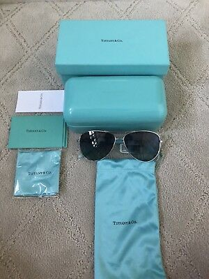 Tiffany & Co. Blue Lenses Silver Chain Arm Fashion Pilot Women Sunglasses