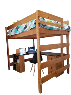 Double Loft Bunk Bed - Stained Timber Wood Finish