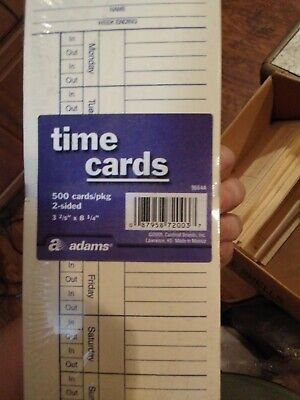 Adams 2-sided - 2500 Count Time Cards Employee- Amano Clock New