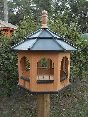 Large Gazebo Vinyl Bird Feeder Amish Homemade Handmade Handcrafted Cedar & Black