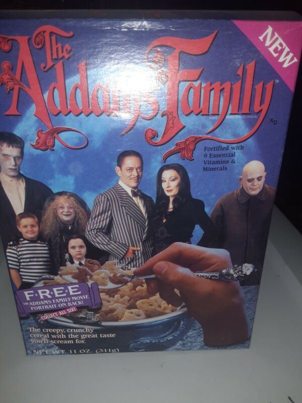 1991 Ralston The Addams Family cereal Box Movie Portrait On Back NOT BROKE DOWN