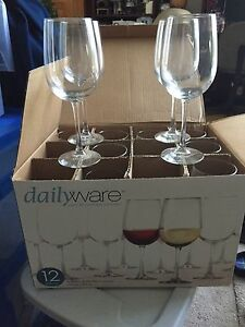 Dozen wine glasses
