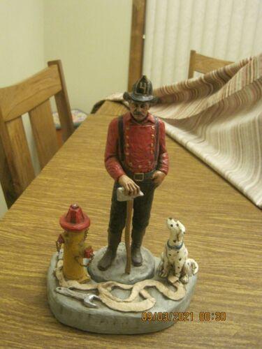 Hand Painted Michael Garman Firefighter/Fireman Sculpture Smoke Eater & Diorama