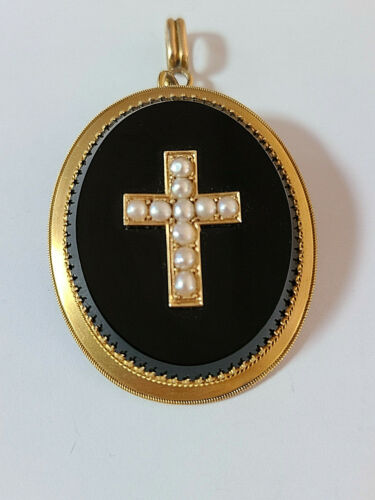 Antique Victorian 18K Yellow Gold Cross Natural Pearls on Onyx Pendant/Brooch