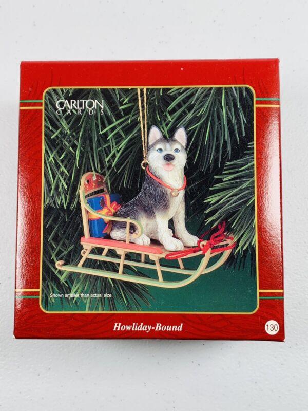 🔥 Carlton Cards • Howliday Bound • Siberian Husky on Sled • Christmas Ornament