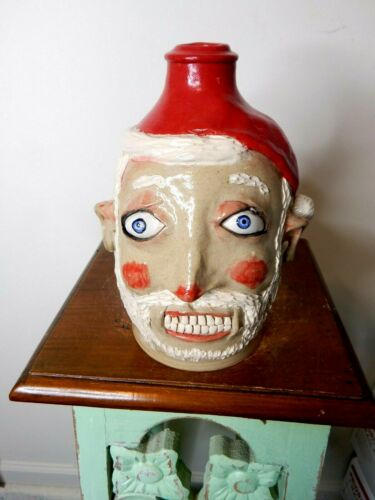 RARE 1st and only  stacy lambert santa jug  , pottery, folk art 8