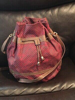 Auth.Gucci Vintage Crossbody Bucket Drawstring Bag Purse GG Shoulder Red Medium.
