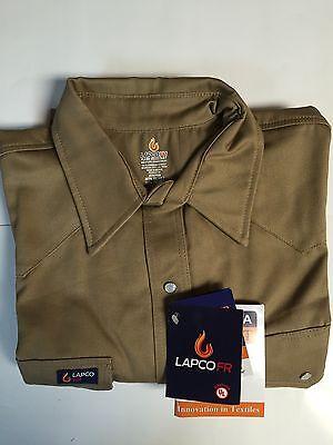 Lapco 9oz Flame Retardant Khaki Work Shirt 17 12 X 35 Xlarge