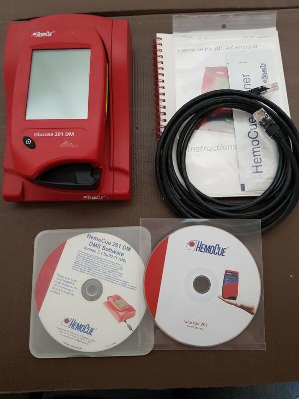 HemoCue Glucose 201DM  Analyzer with accessories works great