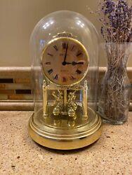 Vintage Seiko Quartz Glass Domed Mantle Table Clock QQZ172G Gold Tone - Japan