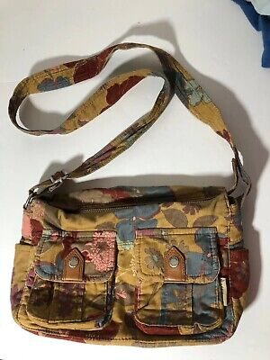 Fossil Crossbody Shoulder Purse Bag Corduroy Cloth Paisley Floral Zipper Medium Corduroy Purse Bag