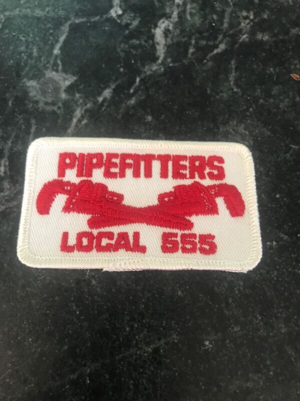 """Plumber Pipefitters Union Local 555 Logo Patch Vtg 3"""" Rare Retro 70s Hat Chicago"""