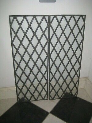 2 Old Pieces Diamond Leaded Glass 14 1/2