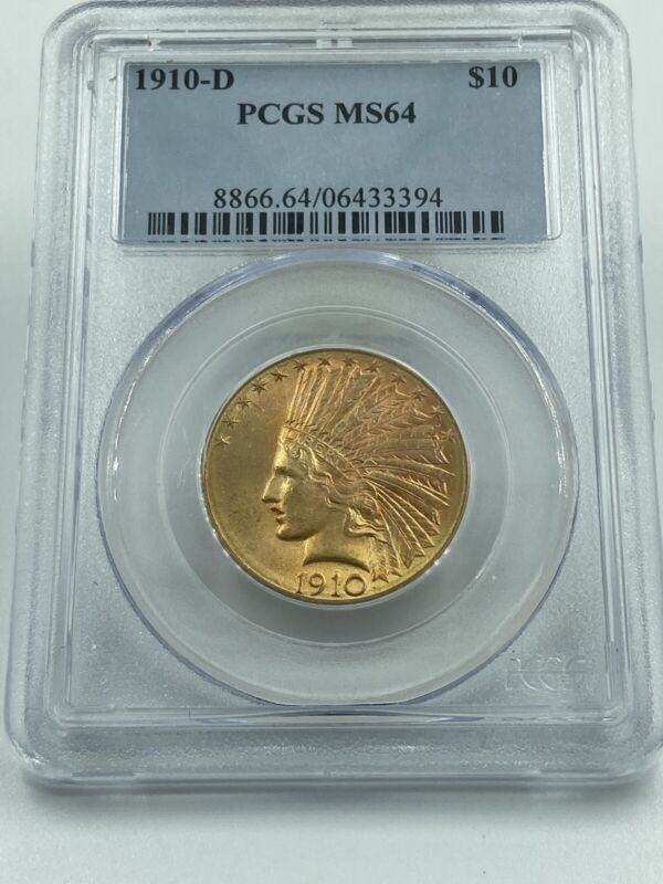 1910-D PCGS MS64 $10 Gold Indian Stunning Luster