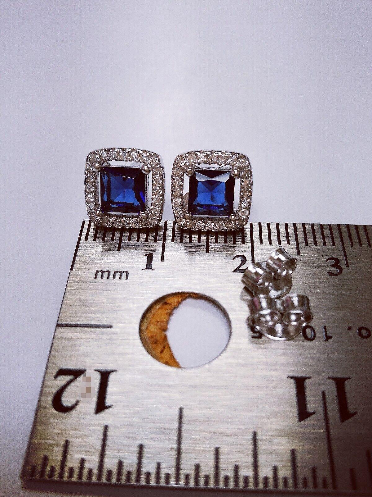 2 Ct Diamond Halo Stud Earrings with Blue Sapphire Women's Studs 14K White Gold 6
