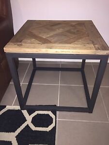 Side Tables x 2 - Recycled Pine, Parquetry Top, Iron Base Elderslie Camden Area Preview