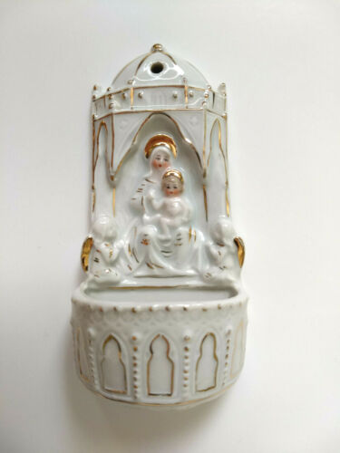 Vtg Ceramic Holy Water Font, Virgin Mary, Baby Jesus, Angels, Wall Mount, Gilt