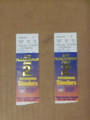 Pgh Steelers, 1995 Season, AFC Championship Game Tickets (2),  Super Bowl XXX