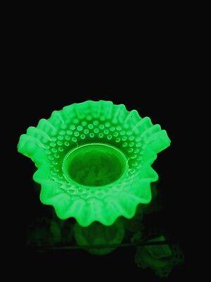 Vaseline Hobnail Dish.....Fenton,,,,,,Bold Green Color.......Excellent Condition