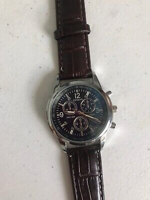 Stylish Leather Mens Watch 3 Dials