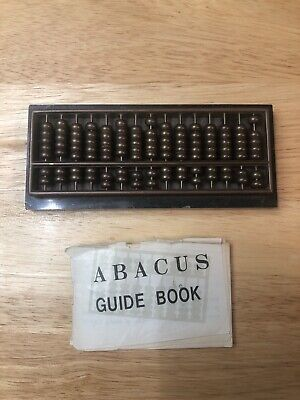 Vintage 15 Brass Rods & Beads ABACUS with Marble Base